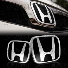 Black JDM H Emblem 2PCS Set Front & Rear For 2006-2015 HONDA CIVIC SEDAN 4DR