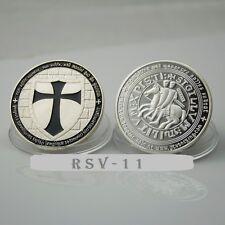Chevaliers du Temple, Templiers croisés argent médaille de couleur noir color