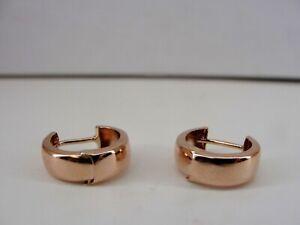 """14k Rose Gold Huggie Hoop Earrings w/Hinged Snap Backs - .5"""" 4.55mm"""