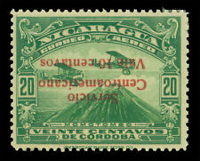 NICARAGUA 1935 AIRMAIL  Biplanes over Mt Momotombo 10c/20c grn Sc C111d mint MLH