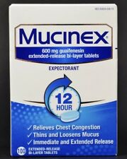 Mucinex 600mg Expectorant 100 Tablets Exp. 3/2020 Extended Release