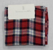 $175 NWT Brunello Cucinelli Pocket Square Red White Blue Plaid Linen Hand Rolled