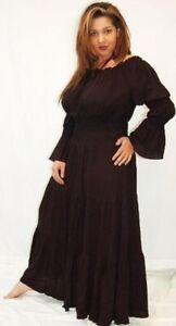 BOHEMIAN MEXICAN PEASANT RUFFLED MAXI DRESS LONG SLEEVE BLACK 3X G705-CA