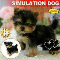 Realistic Yorkie Dog Simulation Toy Dog Puppy Lifelike Stuffed Toy O7P1