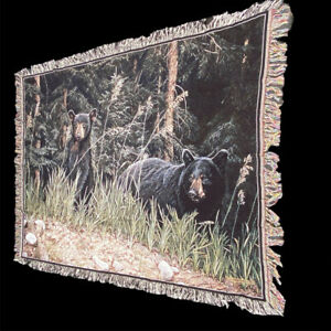 Black Bear and Curious Cub Vintage 1999 Tapestry Afghan Throw ~ Art, Ron Parker