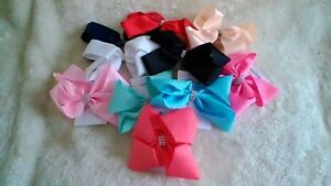 15cm Ribbon Hair Bow with Diamante Centre - Choice of 11 Colours
