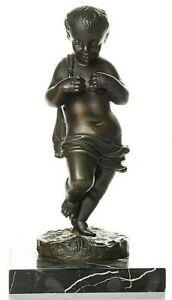 Excellent Antique Neoclassical Bronze Cherub/ Putti/ Child on Marble Base