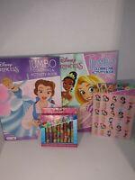 Disney Princess Bundle Set of 5 Jumbo Coloring Activity Book Crayons Stickers