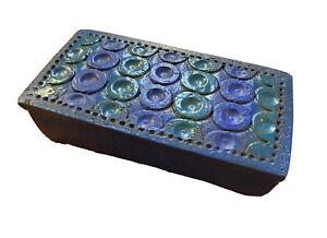 Bitossi Londi Raymor Vtg Mid Century Modern Rimini Blue Pottery Box Italy Bagni