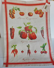 Le Telerie Toscane Italy ~ Linen Kitchen Dish Tea Towel ~ Chili Pepper Tomatoes