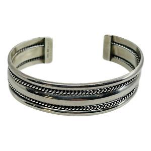 Franklin Verna Tahe Navajo Sterling Silver Double Braid Southwest Cuff Bracelet