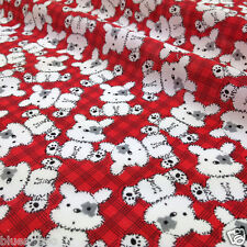 per half metre cute barney the  dog red & black polycotton fabric 112cm wide