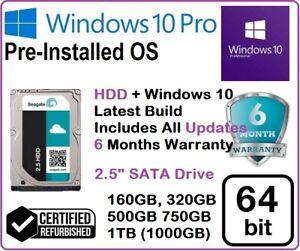 """160GB 320GB 500GB 750GB 1TB 1000 2.5"""" SATA Hard Drive Windows-10Pro For LAPTOPS"""