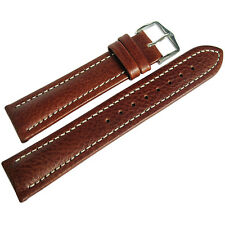 20mm Hirsch Buffalo Mens SHORT Brown Buffalo-Grain Leather Watch Band Strap