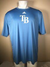 New Adidas Tampa Bay Rays Mlb Blue Climacool Poly Workout Training Shirt Mens Xl