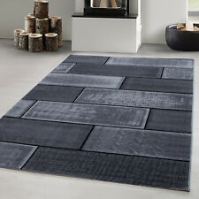 Teppich Designer Modern Meliert Steinoptik Mauer Muster Kurzflor Schwarz Grau