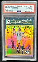 2016 1st Year Optic HOLO REFRACTOR Packers AARON RODGERS Card PSA 10 GEM Pop 16