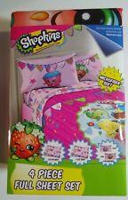 Shopkins Full Size Bed Sheet Set 4 Piece Kids Bedding Sheets Microfiber Soft