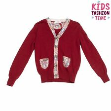BOB Wool Cardigan Size 6Y Thin Knit Contrast Patterned Trim Elbow Patches Y Neck