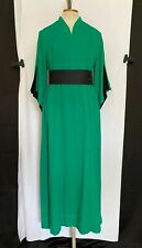 Vintage Vtg 60s Hawaii Maxi Dress By Ti'a Tiki Pake Mu Style Solid Green & Black