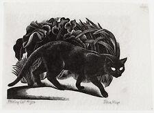 EILEEN MAYO, 'PROWLING CAT', 1938 WOODCUT 1/50 COPIES