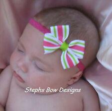 Apple Green shock Pink Dainty Hair Bow with Lace Headband Fits Preemie Newborn