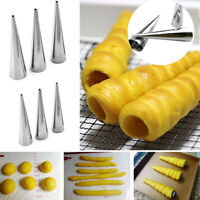 5pcs/lot Stainless Steel Cake Bread Mold Spiral Croissant Tubes Baking Cones New