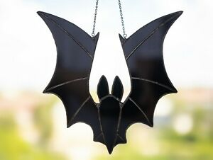 Stained Glass Window Hanging Bat Halloween Christmas Decorations TOTAL BLACK