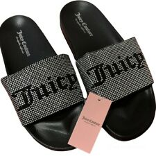Juicy Couture Slide Sandals Bling Rhinestone Black White Size 9 - NEW
