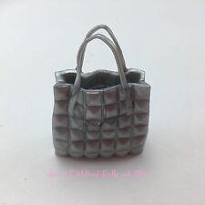 NEW Barbie PURSE Fashionista 34 Silver Gray Quilted Tote Bag Handbag B Fabulous