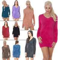 New Womens Knitted V Neck Fluffy Furry Jumper Dress Casual Top Size 8 10 12 14