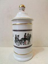 ancien pot a pharmacie en porcelaine blanche de limoges decor de spartiates
