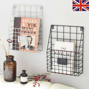 Magazine Newspaper Wire Basket Wall Mounted Post Storage Rack Organizer Office