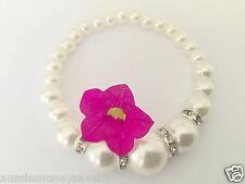 Classic White Silver Pearl bead bracelet Bangle baby christening FREE Gift Bag