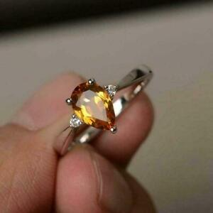 Certified 2.00 Ct Pear Cut Yellow Citrine Engagement Ring Gift For Free Ship