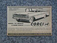 VINTAGE 1959 CORGI 59 CHEVY IMPALA 4 DOOR ADVERTISEMENT