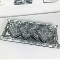 Set Of 4 SPARKLY Square Silver Mirrored Crushed Crystal Coasters, KITCHEN BLING✨