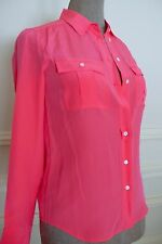 New J.CREW 'Blythe' Hot Neon Pink Silk Blouse Classic 'Army Style' Shirt NO TAGS