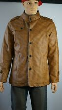 KP FASHION MEN Coat Men's Winter Style Used Brown Faux Leather Great Condition