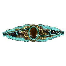 BR803131 Beaded Ocean Stones Bracelet Fair Trade Artisan Glitzy Turquoise Bronze