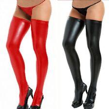 Struempfe-Stockings-Halterlose-Lederlook-Optik-Wetlook-Clubwear-Overknees