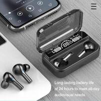 Bluetooth Earphones 5.0 Wireless Earbuds IPX7 Waterproof LED Noise Cancelation