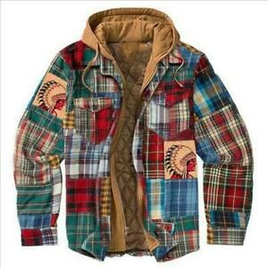 Mens Winter Warm Padded Shirt Thicken Hooded jacket