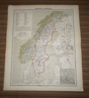 Carl Flemming Map in German (Circa 1850) Sweden and Norway