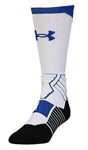 UNDER ARMOUR UA SC30 Drive Curry White Royal Blue Basketball Crew Socks Mens M L