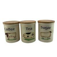 Vintage TG Green Clover Leaf Countey Kitchen Tea Coffee Sugar Storage Jars