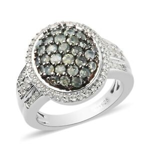 Platinum Over 925 Sterling Silver Alexandrite Cluster Ring Jewelry Ct 1.8
