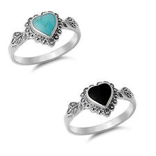 Turquoise Onyx Filigree Heart .925 Sterling Silver Ring Engagement promise Band