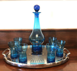 Mid Century Blue Glass Decanter And 6 Glasses Peacock Blue Modernist Design
