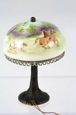 Dollhouse Miniatures ~ NiGlo Porcelain Table Lamp w/ Painted Hunt Scene ~ Ni Glo